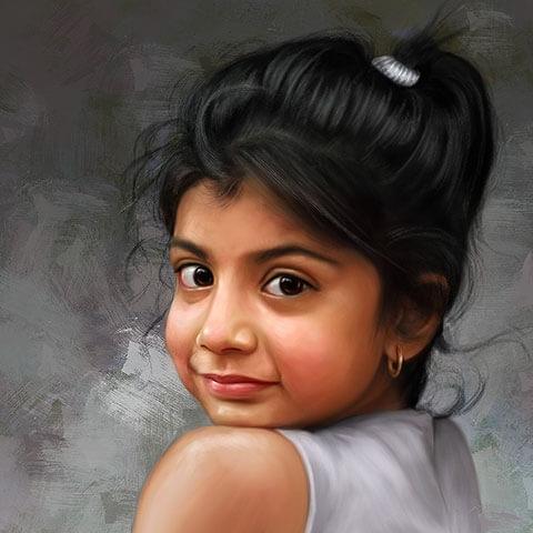 Child Digital Portrait Painting by Oilpixel