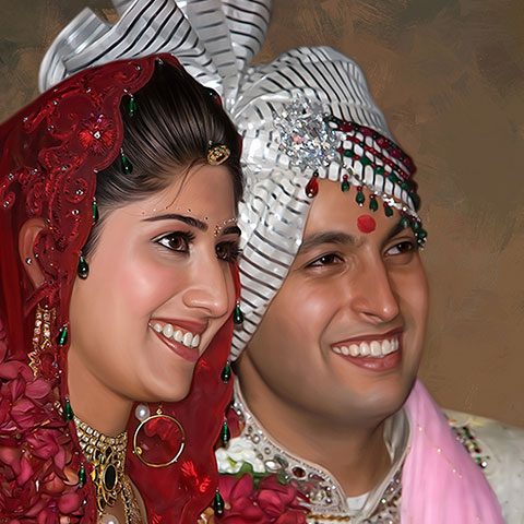Wedding Couple Digital Portrait Painting by Oilpixel