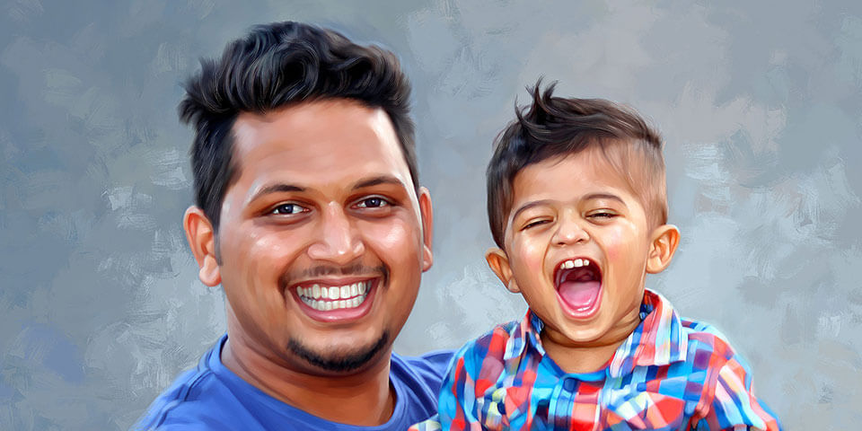 Fathers Day Gift Digital Portrait Painting by Oilpixel