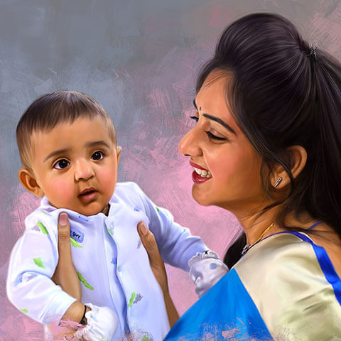 Mother and Child Digital Portrait Painting by Oilpixel