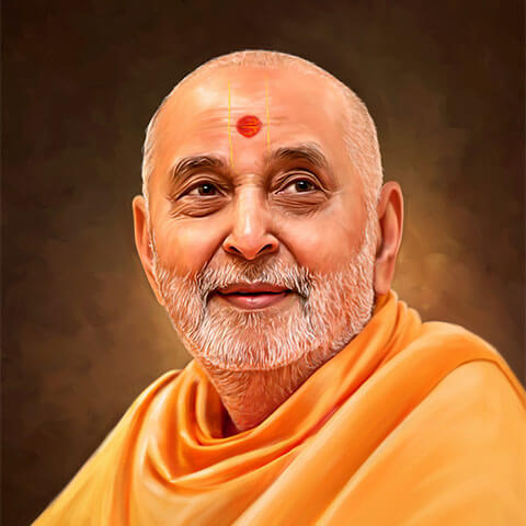 Self Digital Portrait Painting of Pramukh Swami by Oilpixel