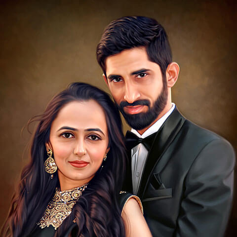 Engagement Couple Digital Portrait Painting by Oilpixel