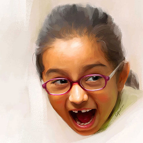 Child Digital Portrait Painting by Oilpixel