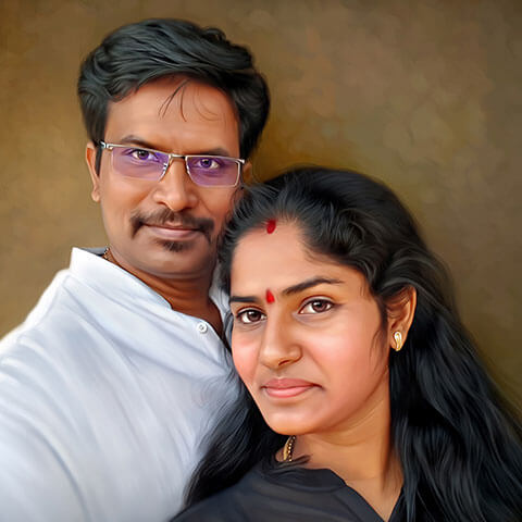 Couple Digital Portrait Painting by Oilpixel