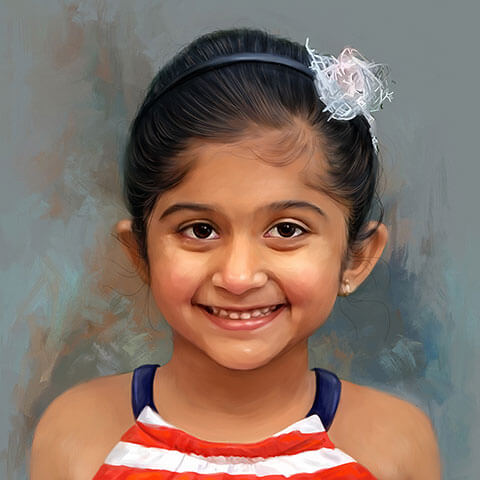 Kid Digital Portrait Painting by Oilpixel