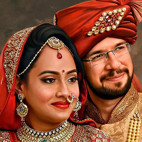 Wedding Couple Digital Portrait Painting by Oilpixel