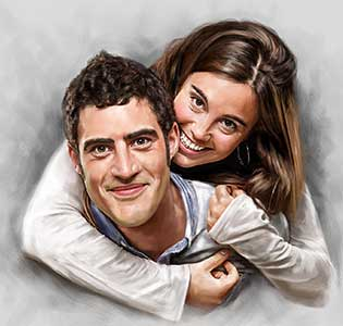 Couple Digital Portrait Painting by Oilpixel