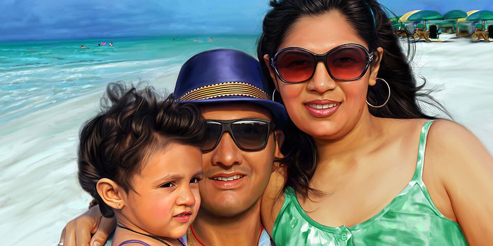 Family Digital Portrait Painting by Oilpixel