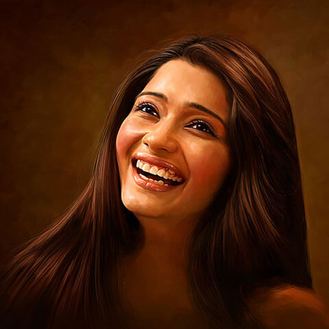 Self Digital Portrait Painting of Bhakti Kubavat by Oilpixel