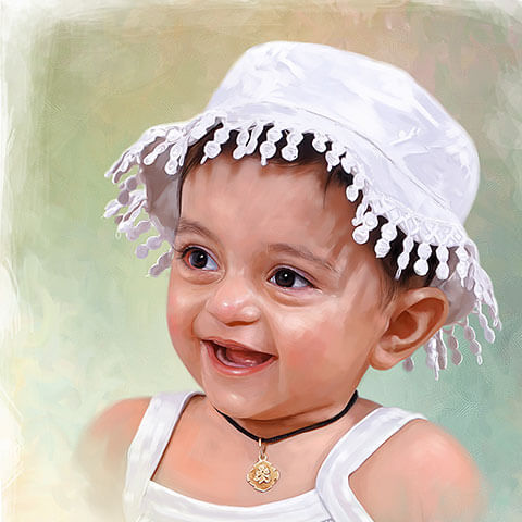 Small Kid Digital Portrait Painting by Oilpixel