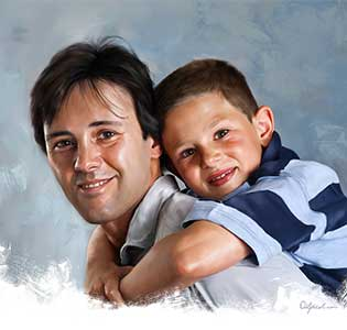 Fathers Day Celebration Digital Portrait Painting by Oilpixel