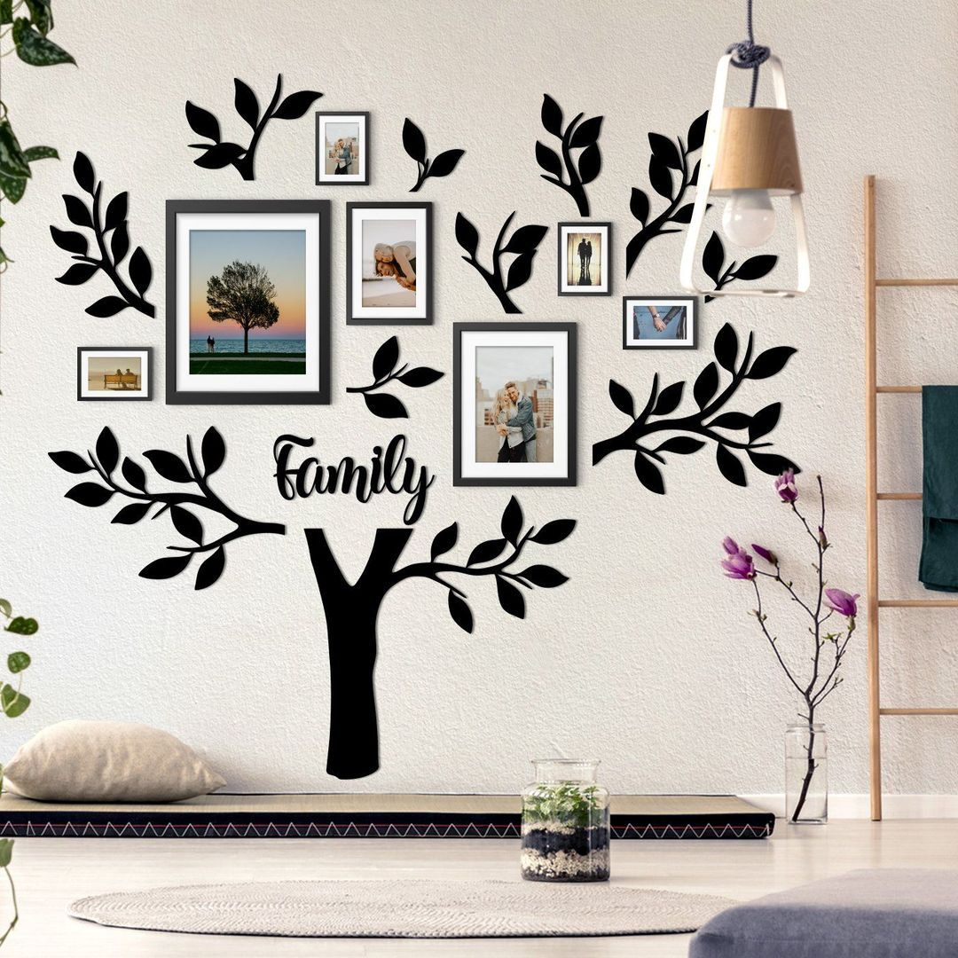 Black color family tree with pictures on a wall